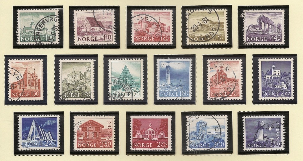 Famous Norwegian buildings on stamps